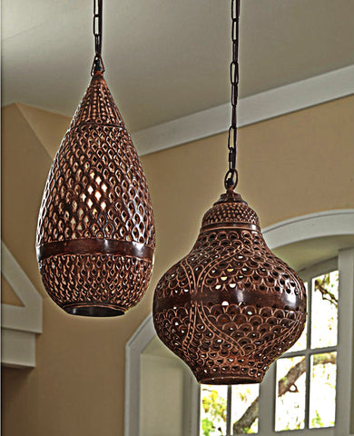 Baja Bohemian Metal Geometric Pendant Light - Boho Bohemian Decor