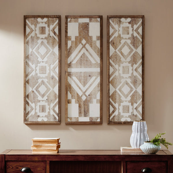 Jaden Set (3) Natural Wood Artisan Wall Art Panels