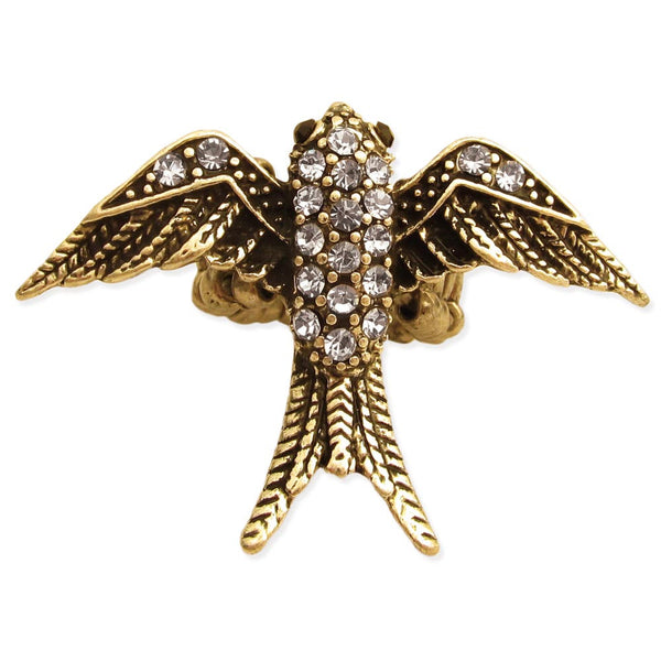 Antique Gold Rhinestone Swallow Bird Ring - GoGetGlam Boho Style