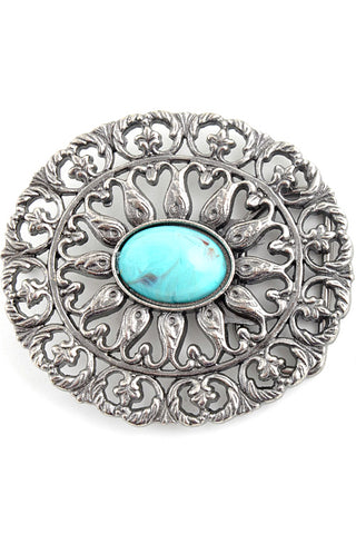 Silver Boho Turquoise Oval Belt Buckle