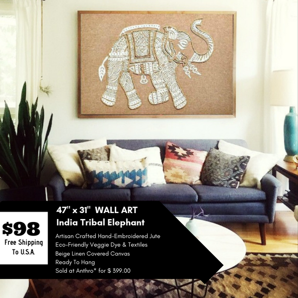 HUGE 4 FT India Elephant Embroidered Canvas Wall Art