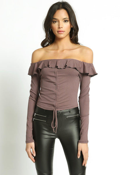 Ruffle Knit Off Shoulder Crop Top-GoGetGlam