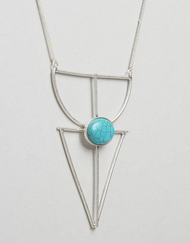Geometric Turquoise Statement Necklace-GoGetGlam