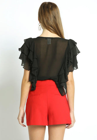 Ruffle Sleeve Crop Top with Bow Tie-GoGetGlam