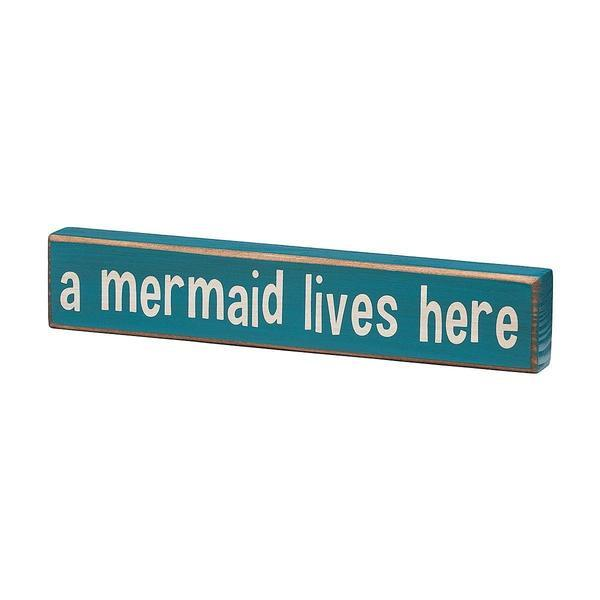A Mermaid Lives Here Wooden Box Sign-GoGetGlam
