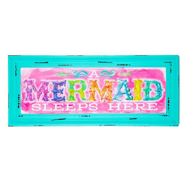 A Mermaid Sleeps Here Wall Art Sign - GoGetGlam Boho Style