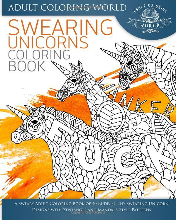 A Swearing Unicorn Bohemian Mandala Adult Coloring Book-GoGetGlam
