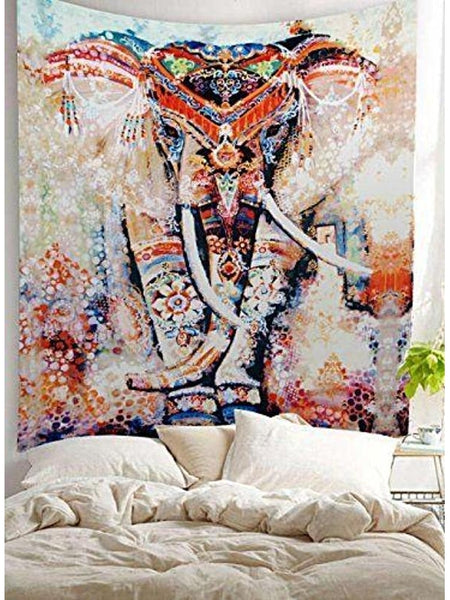 Tribal Watercolor Collage Boho Elephant Wall Fabric Tapestry-GoGetGlam