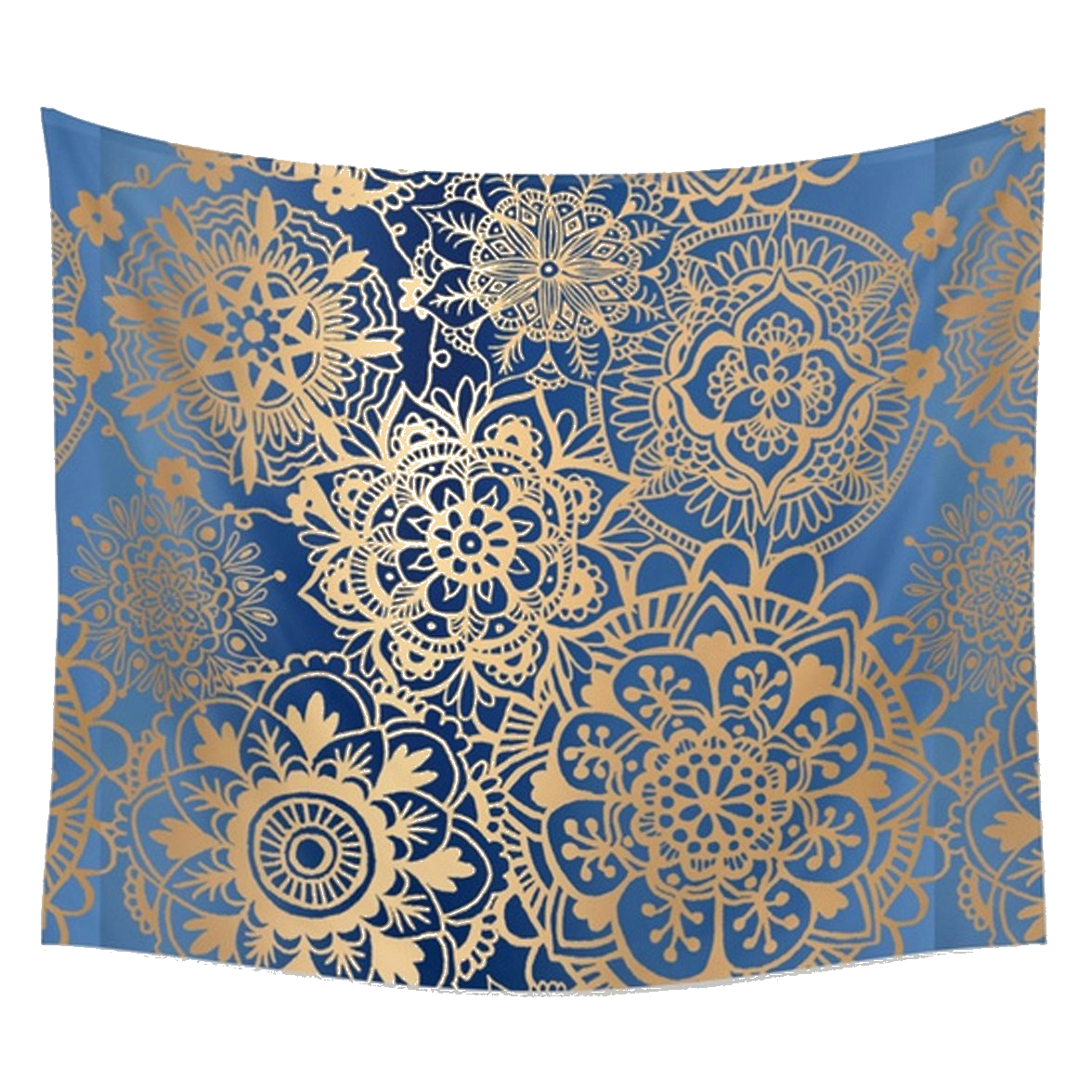 Abisa Blue and Gold Bohemian Fabric Tapestry-GoGetGlam