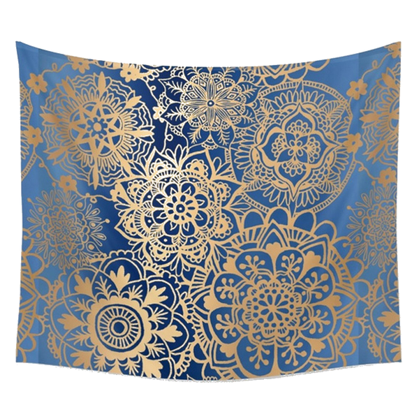 Abisa Blue and Gold Bohemian Fabric Tapestry - GoGetGlam Boho Style