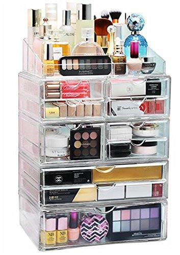 acrylic xl 10 drawer 9 grid makeup organizer storage unit. Black Bedroom Furniture Sets. Home Design Ideas