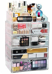 Acrylic XL 10 Drawer+9 Grid Makeup Organizer Storage Unit-GoGetGlam