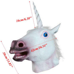 Adult Latex Unicorn Head Mask in White - GoGetGlam Boho Style