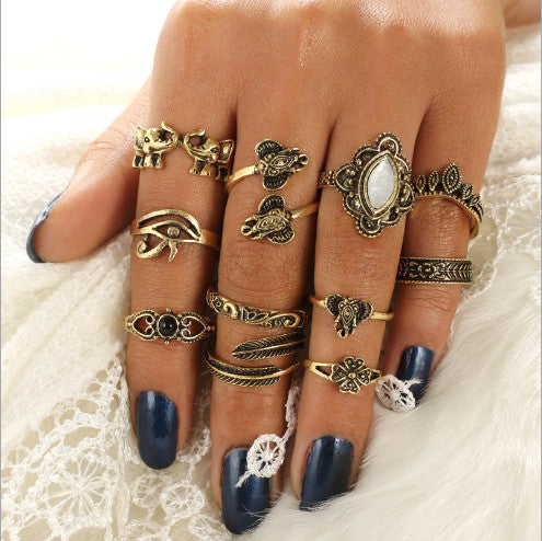 Antique Gold Elephant Parade Boho 11 PC Ring Set - GoGetGlam Boho Style