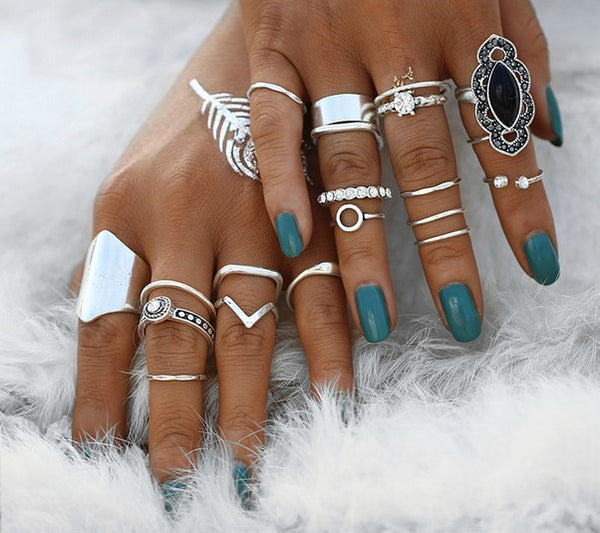19 PC Midi Madness Silver Boho Ring Set-GoGetGlam