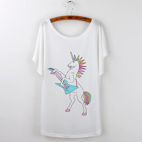 Mohawk Rock Star Unicorn Graphic T-Shirt-GoGetGlam