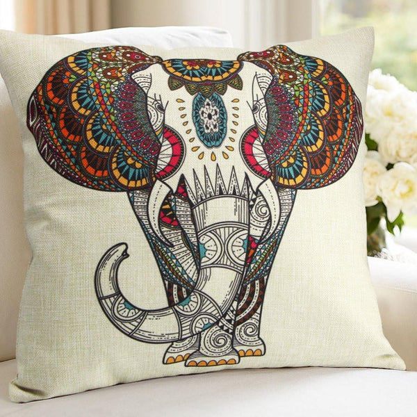 Bohemian Painted Elephant Linen Throw Pillow - Boho Bohemian Decor