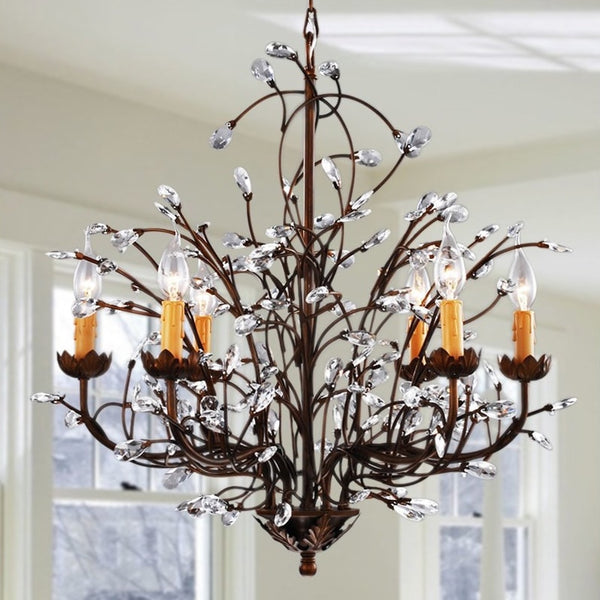 Antique Bronze 6-light Crystal and Iron Chandelier - GoGetGlam Boho Style