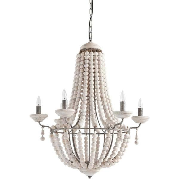 Bohemian Wood Beaded Chandelier Light - Boho Bohemian Decor