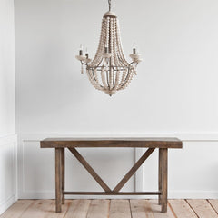Bohemian Wood Beaded Chandelier Light