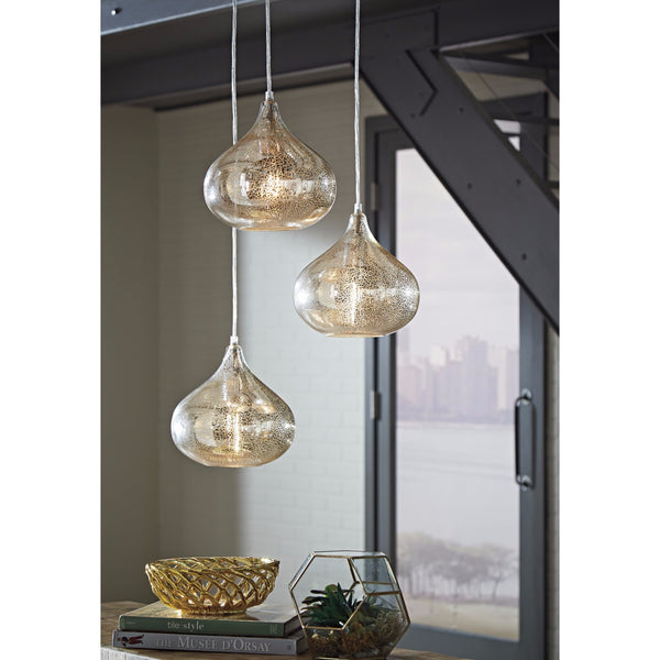Designer's Choice Gold Mercury Tint Glass 3 Light Pendant-GoGetGlam