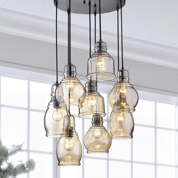 Antique Black Amber Tinted Cluster Pendant Light-GoGetGlam
