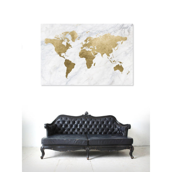 OLIVER 20x30 Mapamundi Marbled Map Canvas Wall Art-GoGetGlam