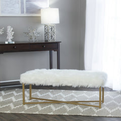 Essa Faux Fur White Rectangle Bench - GoGetGlam Boho Style