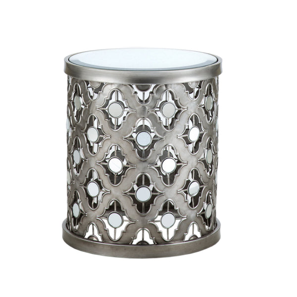 Silver Circle Mirror Accent Table - GoGetGlam Boho Style