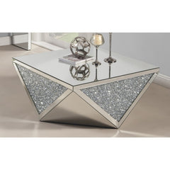 Mirrored Crushed Crystal Coffee Table-GoGetGlam