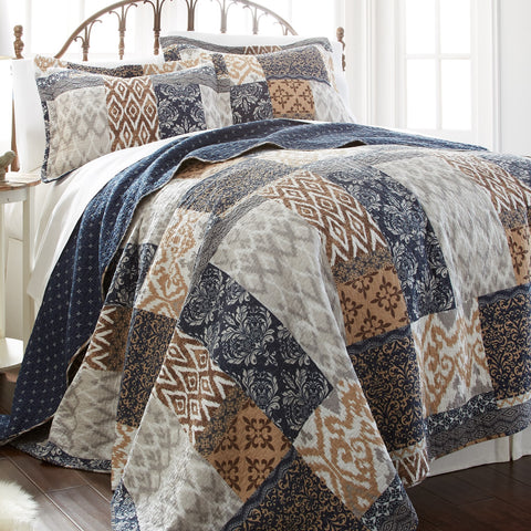 Laura Patchwork Reversible Cotton Quilt Sets - Boho Bohemian Decor