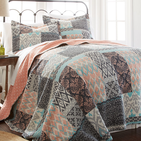 Laura Patchwork Reversible Cotton Quilt Sets-GoGetGlam