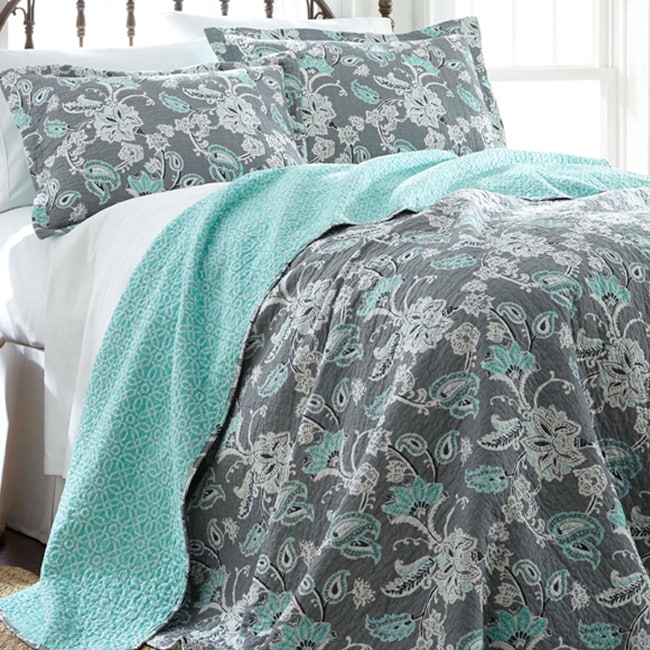 Allie Aqua Floral Reversible Cotton Quilt Set - GoGetGlam Boho Style