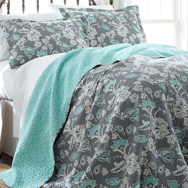 Allie Aqua Floral Reversible Cotton Quilt Set