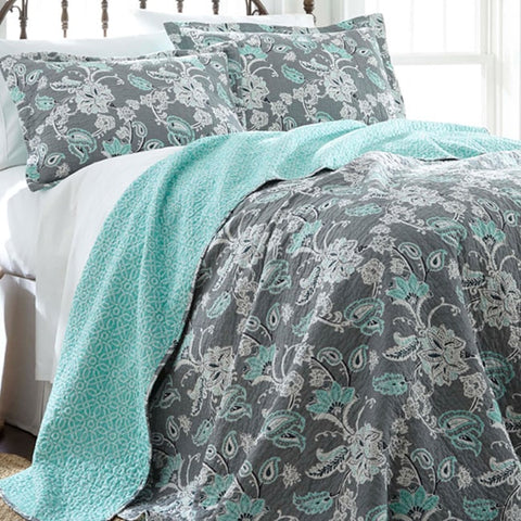 Allie Aqua Floral Reversible Cotton Quilt Set-GoGetGlam