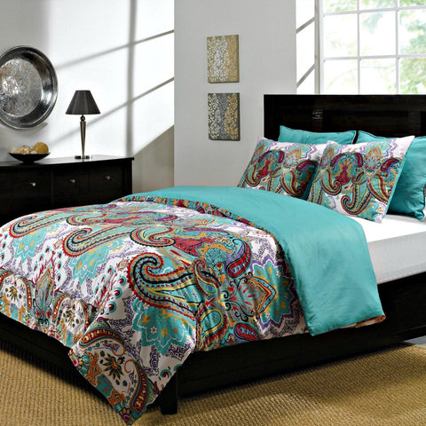 Penni Teal Paisley Reversible Quilt or Duvet Set