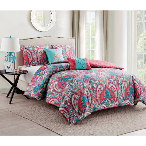 Coralee Paisley 5PC Reversible Duvet Bed Set-GoGetGlam