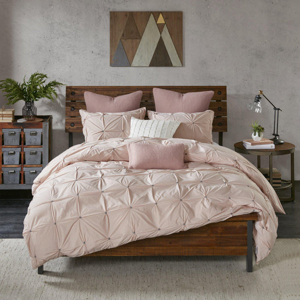 Mazie Pink Pintuck 3PC Comforter Set