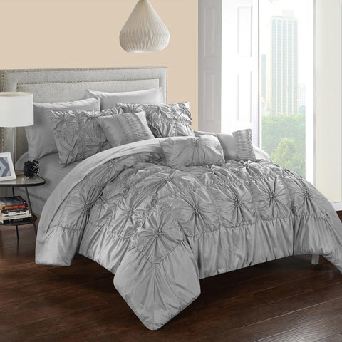 Sia Grey 10PC Pintuck Bed in a Bag Comforter Set