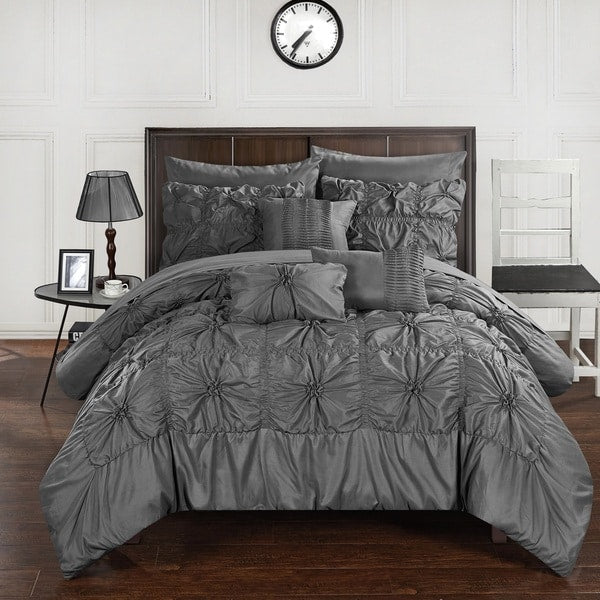 Sia Grey 10PC Pintuck Bed in a Bag Comforter Set-GoGetGlam