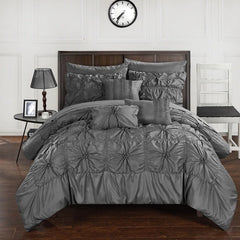 Sia Grey 10PC Pintuck Bed in a Bag Comforter Set - GoGetGlam Boho Style