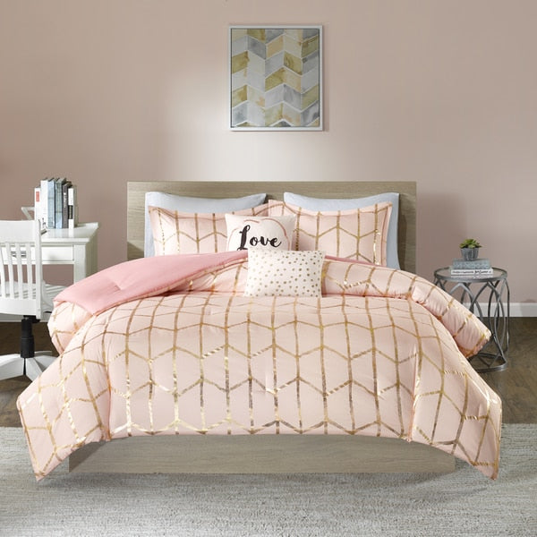 Karley Pink Gold Metallic Dot 5PC Comforter Set - GoGetGlam Boho Style