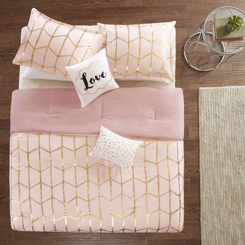 Karley Pink Gold Metallic Dot 5PC Comforter Set-GoGetGlam