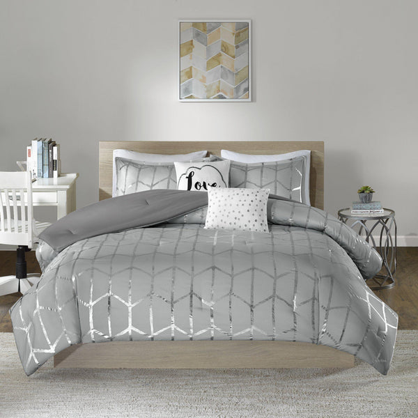 Karley Grey Silver Metallic Dot 5PC Comforter Set
