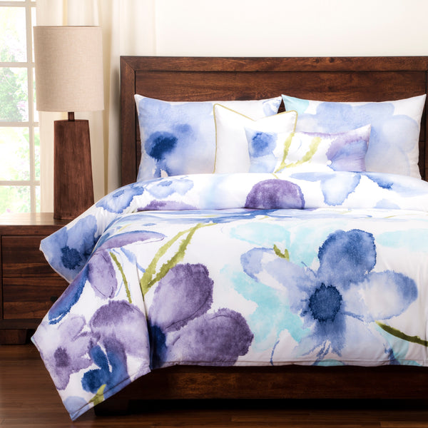 Watercolor Orchids Luxury 6-piece Duvet Set-GoGetGlam