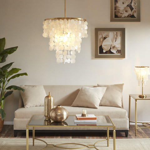 MP Ila Capiz Shell Gold Tone Chandelier-GoGetGlam