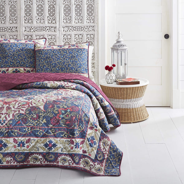 Azalea 3PC Boho Microfiber Blue Quilt Set - Boho Bohemian Decor