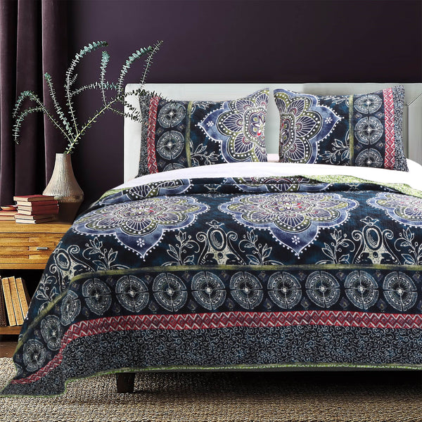 Boho Bungalow 3-piece Navy Quilt Set - Boho Bohemian Decor