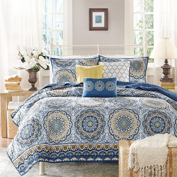 Grace Boho Medallion 6PC Microfiber Coverlet Bed Set-GoGetGlam