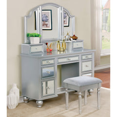 Contemporary 2-piece Mirrored Multi-drawer Vanity Table Set-GoGetGlam